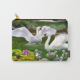 Swans and Baby Cygnets in an Oriental Landscape Carry-All Pouch