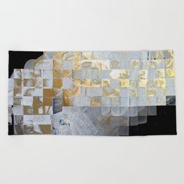 Squares in Gold and Silver Beach Towel