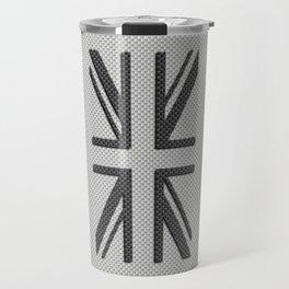 UK Flag Union Jack in Carbon Fiber White with Black Travel Mug