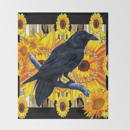 GRAPHIC BLACK CROW & YELLOW SUNFLOWERS ABSTRACT Throw Blanket