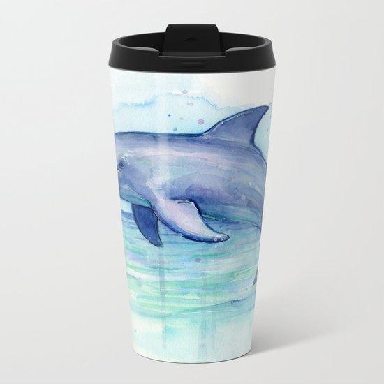 Dolphin Watercolor Sea Creature Animal Metal Travel Mug