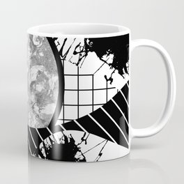 Eclectic Black And White - Black and White Abstract Patchwork Textured Design Coffee Mug