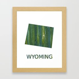 Wyoming map outline Deep moss green watercolor Framed Art Print
