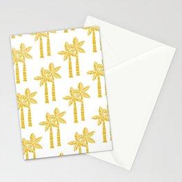 Palm Tree Pattern Mustard Yellow 3 Stationery Cards
