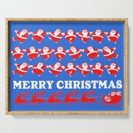 Vintage Santa Claus Dancing Christmas Pattern blue Serving Tray