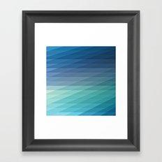 Fig. 042 Blue Geometric Diagonal Stripes Framed Art Print