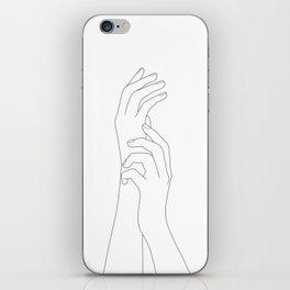 Minimal Line Art Feminine Hands iPhone Skin