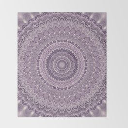 Purple feather mandala Throw Blanket