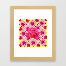 FUCHSIA PINK ROSE PATTERNS & YELLOW GARDEN ART Framed Art Print