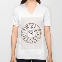 antique V-neck T-shirts featuring Antique Clock by Nikki Vancas