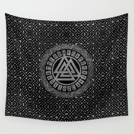 Silver Metallic Valknut Symbol on Celtic Pattern Wall Tapestry