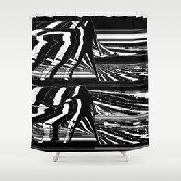 Black & White Glitch Shower Curtain