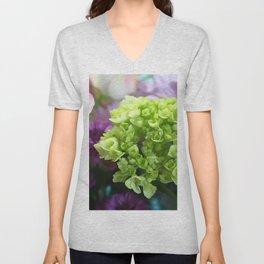 Mini Green Hydrangea Flower Bouquet Unisex V-Neck