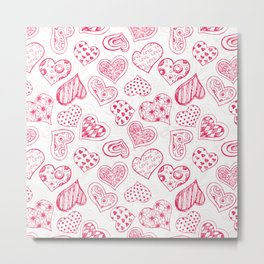 Pattern with red hearts Metal Print