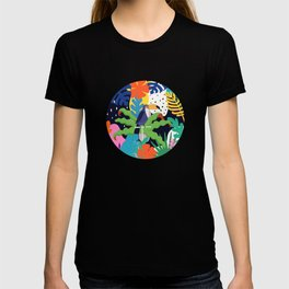 Bold Tropical Jungle Abstraction With Toucan Memphis Style T-shirt