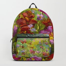 Big red red poppies field, pink wildflowers in green grass Backpack