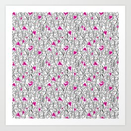 Elios Shirt Faces with Valentine Hearts in Black Outlines with Hot Pink Hearts Art Print