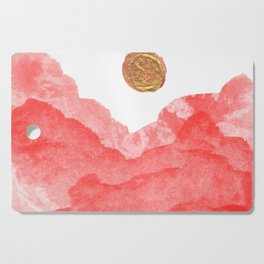 Red watercolor abstract mountains and moon Cutting Board