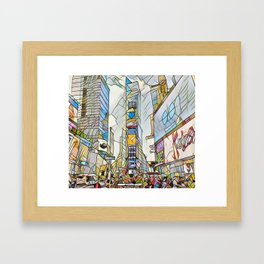 NYC Life in Times Square Framed Art Print
