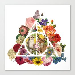 Floral Deathly Hallows Owl and Stag - White Canvas Print