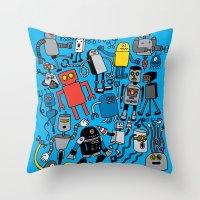 robots Throw Pillows featuring ROBOTS! by Chris Piascik