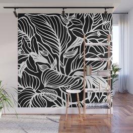 Black White Floral Minimalist Wall Mural