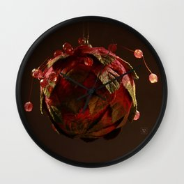 Red, Leafy and Playful Wall Clock