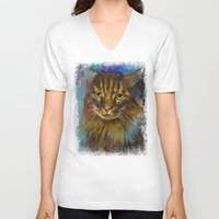 luna V-neck T-shirts featuring Luna by Michael Creese