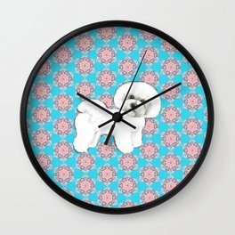 Bichon Frise snowflakes christmas holiday themed pattern print pet friendly dog breed gifts Wall Clock