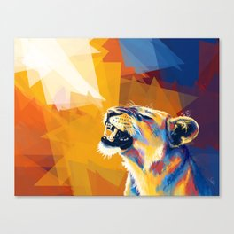 In the Sunlight - Lion portrait, animal digital art Canvas Print