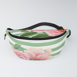 Pink Peonies Green Stripes Fanny Pack
