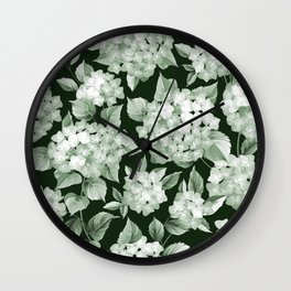 Green Hydrangea Larger Pattern Wall Clock
