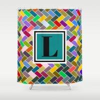 monogram Shower Curtains featuring L Monogram by mailboxdisco