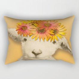 Daisies Sheep Girl Portrait, Mustard Yellow Texturized Background Rectangular Pillow