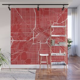 Minneapolis Map, USA - Red Wall Mural