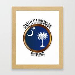 South Carolina Proud Flag Button Framed Art Print