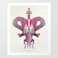 flamingo Art Prints featuring flamingo by Manoou