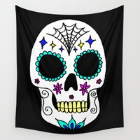 sugar skull Wall Tapestries featuring Sugar Skull by Julie Erin Designs