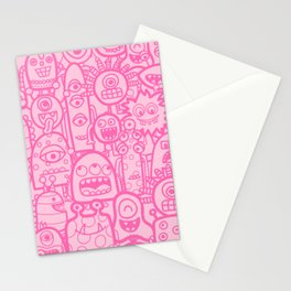 Pink Monsters And Aliens Cute Kids Pattern Stationery Cards
