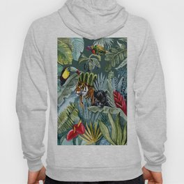 Jungle with tiger and tucan Hoody