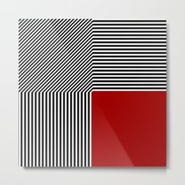 Geometric abstraction: black and white stripes, red square Metal Print