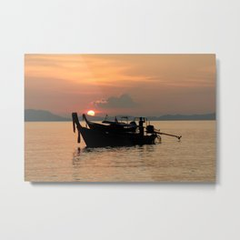 Long-tail boat at sunset in Thailand Metal Print
