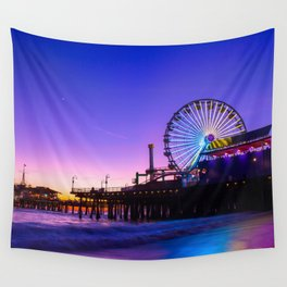 Santa Monica purple sunset Wall Tapestry