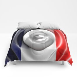 French flag waving - Top view Comforters