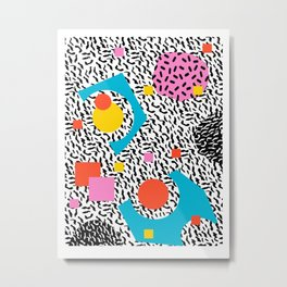 Get Real - memphis abstract pattern retro 80s design minimalist gifts colorful 1980's trend Metal Print