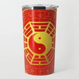 Golden Bagua Feng Shui Symbol on Faux Leather Travel Mug