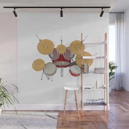 Red Drum Kit Wall Mural