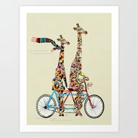 giraffe Art Prints featuring giraffe days lets tandem by bri.buckley