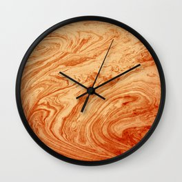 orange marbleized effect marble painting Wall Clock