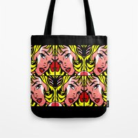 popart Tote Bags featuring PopArt Girl by BURPdesigns
